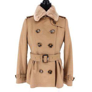 Burberry Cashmere Fur Trim Coat Belted Peacoat Biege Size 6